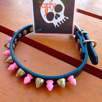 Spiked Dog Collar GENUINE LEATHER  - Size Small:  Black with Pink Tree Spikes and Silver Tone Cone Studs