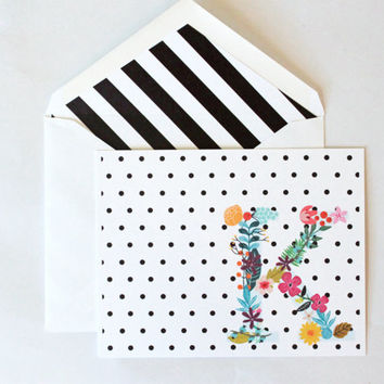 Colorful Monogram Initial Stationary Black and White Polka Dots Stripes Thank You Notes Floral Greeting Cards Custom Stationery Personalized