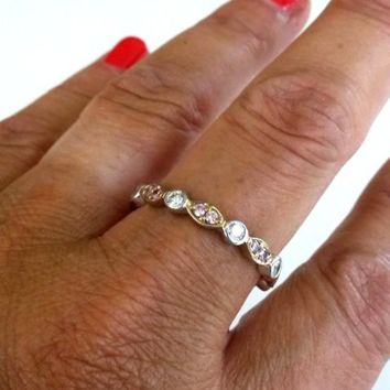 Hidalgo CZ 925 Stacking Ring Size 10 2 Tone Metal Pink Clear Stones 3.1(gr)
