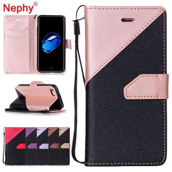 Nephy Wallet Case for iPhone 5 5S, 6 6S, 7, 8 Plus SE Smartphone Cover Filp Double Splice Leather Housing Book Style Phone Bag