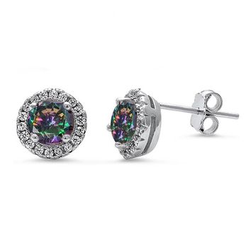 Sterling Silver Rainbow Mystic Topaz & White Cz Halo Stud Earrings