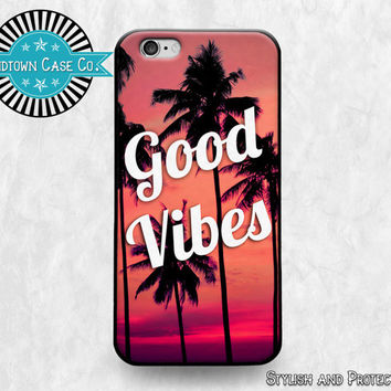 Good Vibes Palm Tree Red iPhone 6 Rubber Case, Good Vibes Palm Tree Red iPhone 5 Rubber Case,Good Vibes Palm Tree Red iPhone 5C Rubber Case