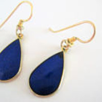 Laurel Burch  Earrings, Pierced Ear Wire,  Art Deco Style, Royal Blue, Vintage Dangle Pierced  Earrings