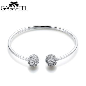 GAGAFEEL Women's Bracelet Bangle With White Crystal Ball Men Jewelry Fit For Clip Beads Charms Copper Silver Plated 3MM Width