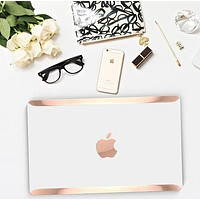 White Pearl Pearlescent and Rose Gold Edge Detailing Hard Case for Apple Macbook Air & Mac Pro 13 Retina -  Platinum Edition