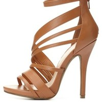 Asymmetric Ankle Strap Heels by Charlotte Russe - Cognac