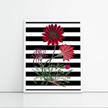 Living room wall decor, black stripes and pink flowers, feminine home decor print, digital print, wall art floral.