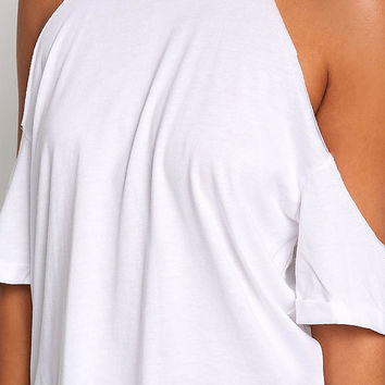 White Cold Shoulder Knit Tee