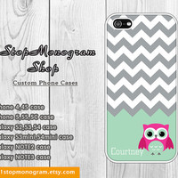 OWL iPhone Case - Gray Chevron with Cute Owl and Custom Name - Personalized Monogram for iPhone & Galaxy