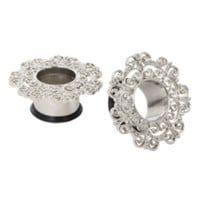 Steel Floral Filigree Eyelet Plug 2 Pack