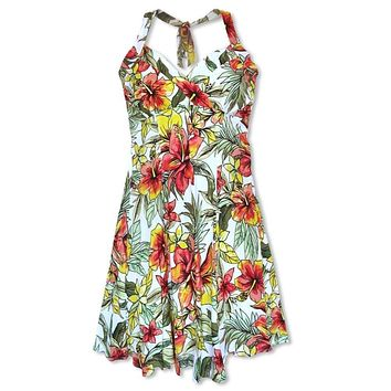 Sunny White Napali Hawaiian Dress