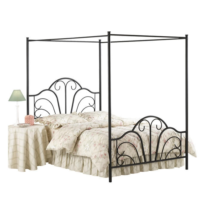 Full size Matte Black Metal Canopy Bed with Scroll Design  sc 1 st  Wanelo & Full size Matte Black Metal Canopy Bed from Hearts Attic | Epic