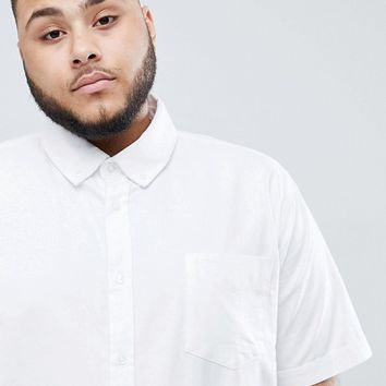 BadRhino Plus Short Sleeve Button Down Oxford Shirt in 100% Cotton In White at asos.com