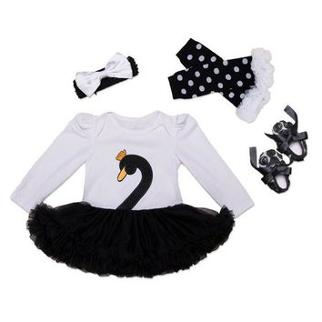 Christmas baby girl clothes 4pcs Swan infant clothing Suit Princess Tutu Romper Dress Jumpsuit Party Birthday Costumes Vestido