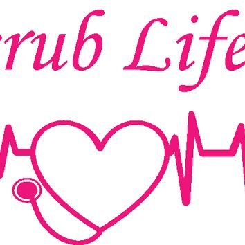 Heartbeat Scrub Life Vinyl Graphic Decal