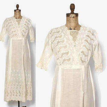 Vintage EDWARDIAN DRESS / 1910s Embroidered Ivory Lace Trim Cotton Day Dress S - M