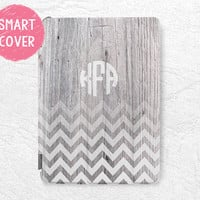 Personalized iPad Smart Cover, Monogram Chevron wood print custom initial name case for iPad Mini, iPad mini 2 retina, iPad Air, iPad Air 2
