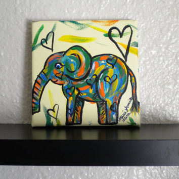 Whimsical Elephant Painting- Childrens Nursery- Jungle- Safari- Kids room