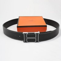 Hermes Men Woman Fashion Smooth Buckle Belt Leather Belt