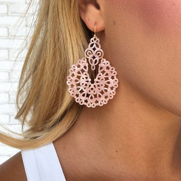Catherdral Acrylic Laser Cut Earrings in Blush Pink