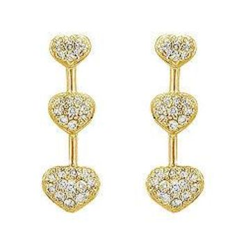 Diamond Heart Journey Earrings : 14K Yellow Gold - 0.50 CT Diamonds