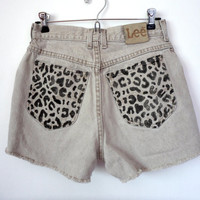 Hand Printed Lee Leopard Print High Waisted Denim Shorts Size 8 28 Waist Upcycled