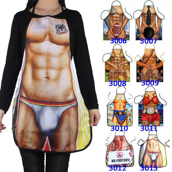 Free Ship 14 Styles Unisex Sexy Cooking Apron Funny Novelty BBQ Party Apron Naked Men Women Sexy Rude Kitchen Cooking Apron