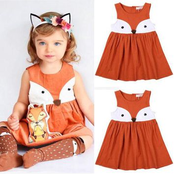 US Stock Baby Girls Toddler Kids Fox Dress Party Wedding Tutu Dresses Princess