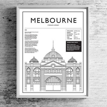 Melbourne | TRAVEL ART PRINT | A5/A4/A3/A2 - Melbourne Travel Poster, Flinders Street Station, Graphic Design, Typography, Architecture