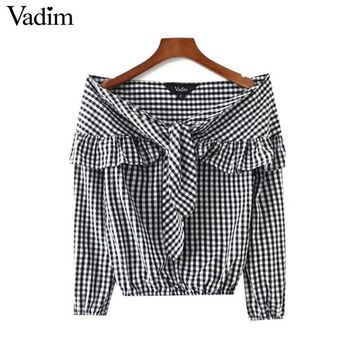 Cute Slash Neck Bow Tie Neck Ruffles Plaid Shirts Off Shoulder Long Sleeve Casual Street Wear Tops