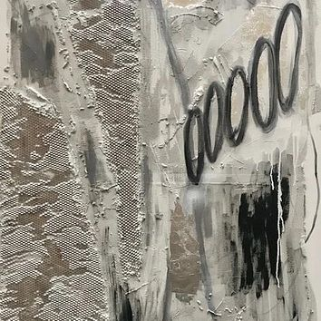 """""""Thoughtprints on Quicksand Series No. 2"""" by Ewa Jaros, Concrete and Acrylic on Canvas"""