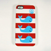 iPhone 4, 4S or 5 Cell Phone Case Beach Whale Design Personalized With A Monogram, Red Stripe, Beach iPhone Case, Seashore iPhone Case