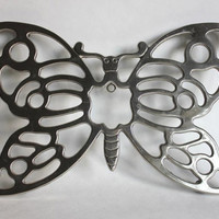 Large Butterfly Trivet, Leonard Silverplate, Vintage 1970s Kitchen Nature Silver Plate Wall Hanging and Pot Holder