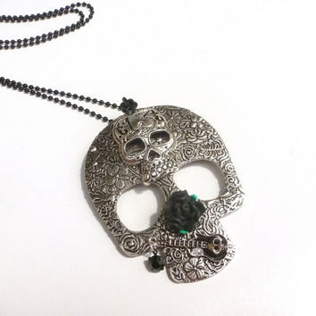 Skull Necklace Number 13 Tattoo Skull Pendant Punk Music Guitar Rose Accents Gothic Industrial Primitive  Jewellery