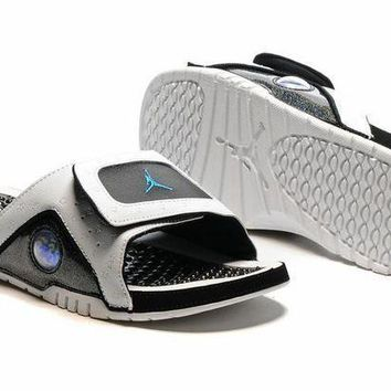 PEAPGE2 Beauty Ticks Nike Jordan Hydro Xiii White/black Sandals Slipper Shoes Size Us 7-13