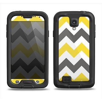 The Gray & Yellow Chevron Pattern Samsung Galaxy S4 LifeProof Fre Case Skin Set