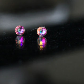 Swarovski tiny Stud Earrings, Xilion Rose studs, small Studs, Surgical steel Earrings