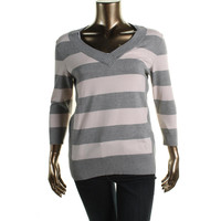 Style & Co. Womens Knit Ribbed Trim V-Neck Sweater