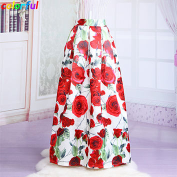 Muslim Women100cm Non-transparent Fashion Satin Long Skirt Vintage Retro Rose Floral Print High Waist Pleated Maxi Skirt  SK064