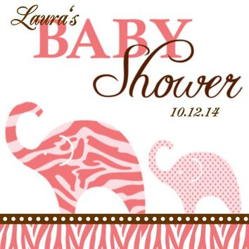 Pink Safari Elephant Baby Shower Favor Tags