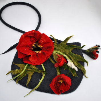 handbag with poppy flowers   / bag / Wool felted bag / Purse / feld flowers