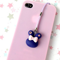 Dark Blue Bunny Phone Charm, Rhinestone Rabbit Dust Plug, Kawaii Planner Charm, Nintendo 3DS, Pastel Phone Strap, Cute Notebook Charm,