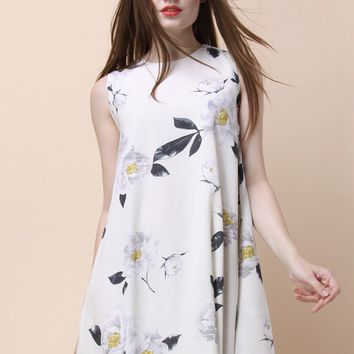 Dulcet Peonies Shift Dress in White