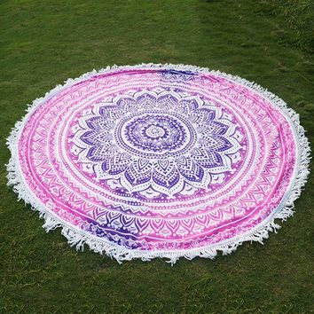 Round Indian Mandala Tapestry Printed Hippie Wall Hanging Boho Beach Throw Towel Yoga Mat Bed Sheet Tablecloth Home Decor