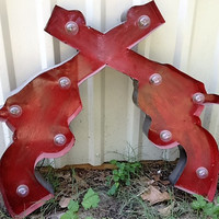 Lighted Rustic Handmade Double Pistols - many color choices