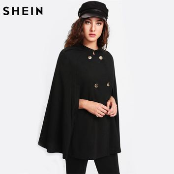 SHEIN Coat Women Double Breasted Cape Coat Black Long Vintage Womens Coat Stand Collar Cloak Sleeve Fashion Coats