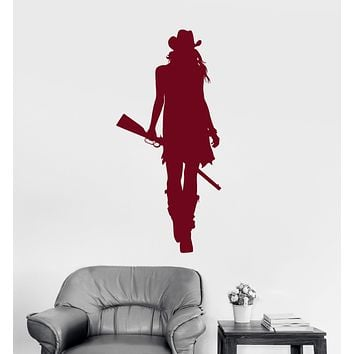 Vinyl Wall Decal Cowgirl With Gun Cowboy Hat Western Stickers Unique Gift (1654ig)