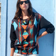 Vintage 80's Pull Over Blouse Water Coloured Patterned Long Sleeved