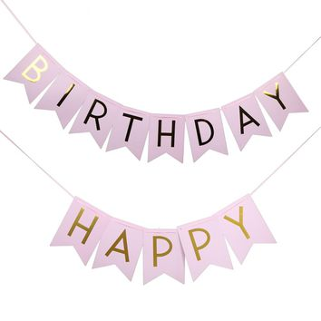 2.4 m Glitter Happy Birthday Bunting Banner Gold Letters Hanging Garlands Pastel Pink String Flags Baby Shower Party Decor