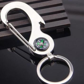 Stainless Steel Bottle Opener Keychain With Carabiner And Compass